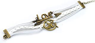 Hunger Game Bracelet-Mockingjay Bird, Arrow, Love, Bronze Bracelet, Braided Rope, Leather, Fashion Wrist Ornament,