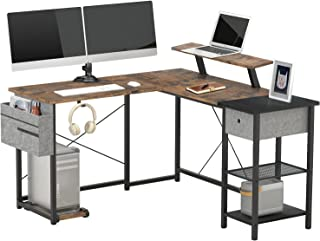 SUAYLLA L Shaped Computer Desk for Home Office,L Shaped Desk with Drawer,Storage Shelves,Headphone Hook,Removable CPU Stan...