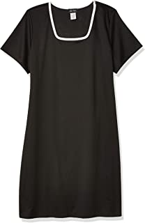 Star Vixen Women's Plus Size Short Sleeve Ponte Sheath Dress with Contrast Piping
