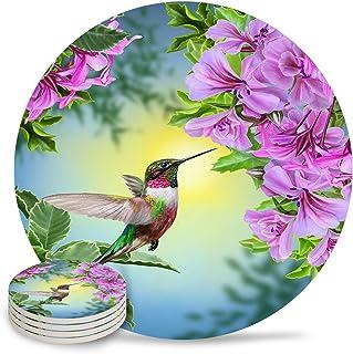 Set of 6 Coasters for Drinks, Absorbing Stone Hummingbird Purple Azalea Flower Ceramic Round Coaster with Cork Base No Hol...