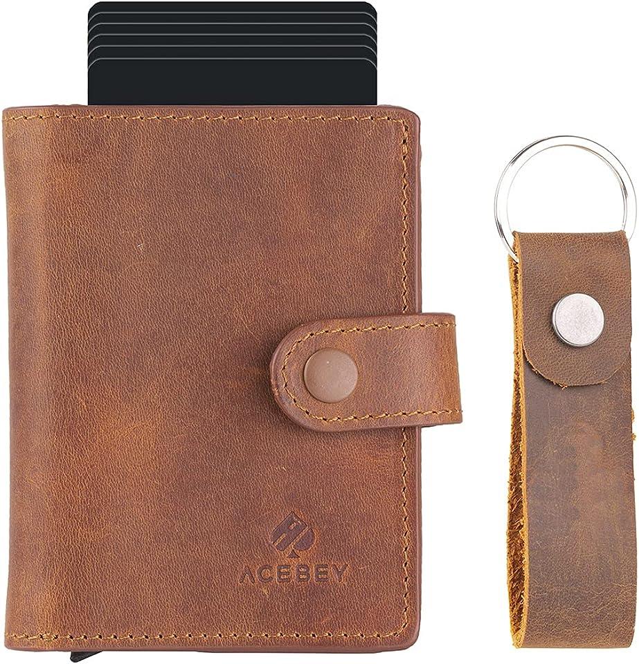 Herren Leder Geldbörse Wallet - Männer Portemonnaie mit Münzfach, Kartenetui und RFID-Schutz - Inklusive Schlüsselanhänger - 100% Echtleder - Vintage Braun