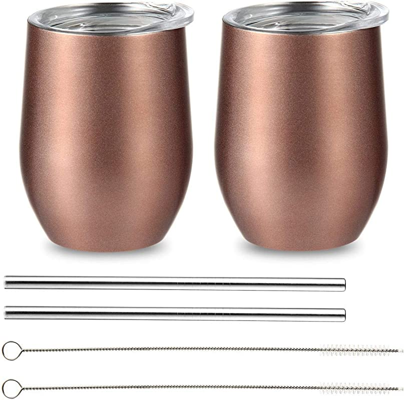 FOONEE 2Pack Vacuum Insulated Wine Tumbler 12 OZ Coffee Mug With Lids Stainless Steel Cocktails Cups BPA Free With 2 Metal Straws And Cleaning Brushes Travel Friendly Wine Glasses