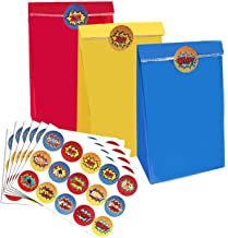 Superhero Party Bags & Stickers – 30 3-color red yellow and blue party bags With 60 Pcs Superhero Stickers, Superhero Party Gift Supplies