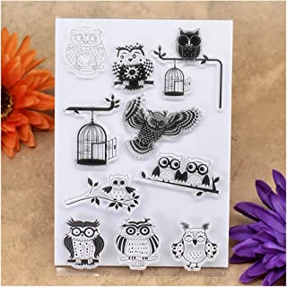 Kwan Crafts Owl Birdcage Clear Stamps for Card Making Decoration and DIY Scrapbooking