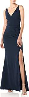 Dress the Population Women's Jordan Plunging Drape Front Sleeveless Long Gown with Slit