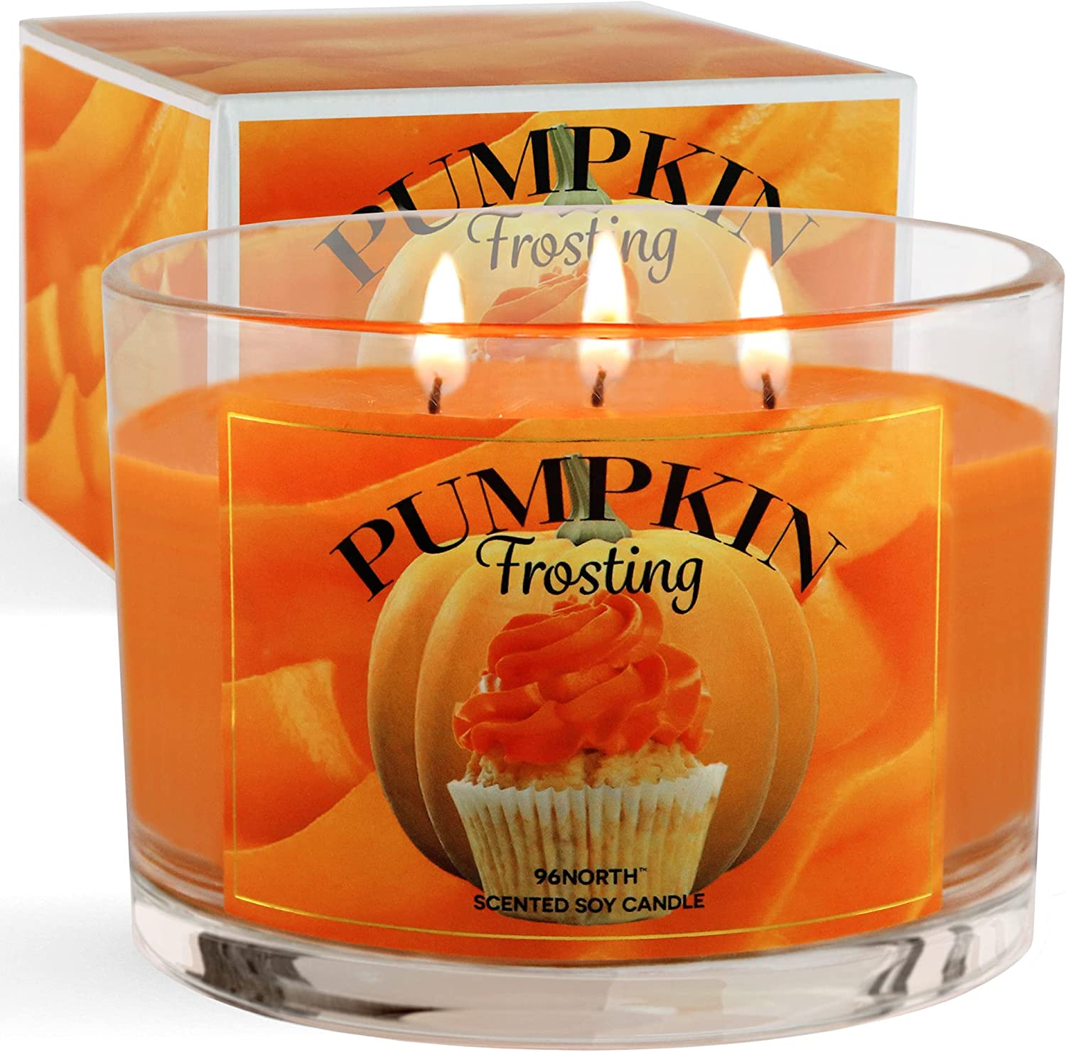 96NORTH Pumpkin Candle   Large 3 Wick   Fall Candles Pumpkin Spice Scented   Halloween Candles Decor   100% Soy Wax
