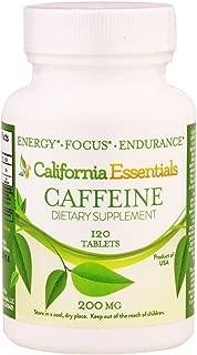California Essentials Caffeine Pills – Energy Focus and Endurance Booster, Maximum Potency 200mg (120 Tablets)