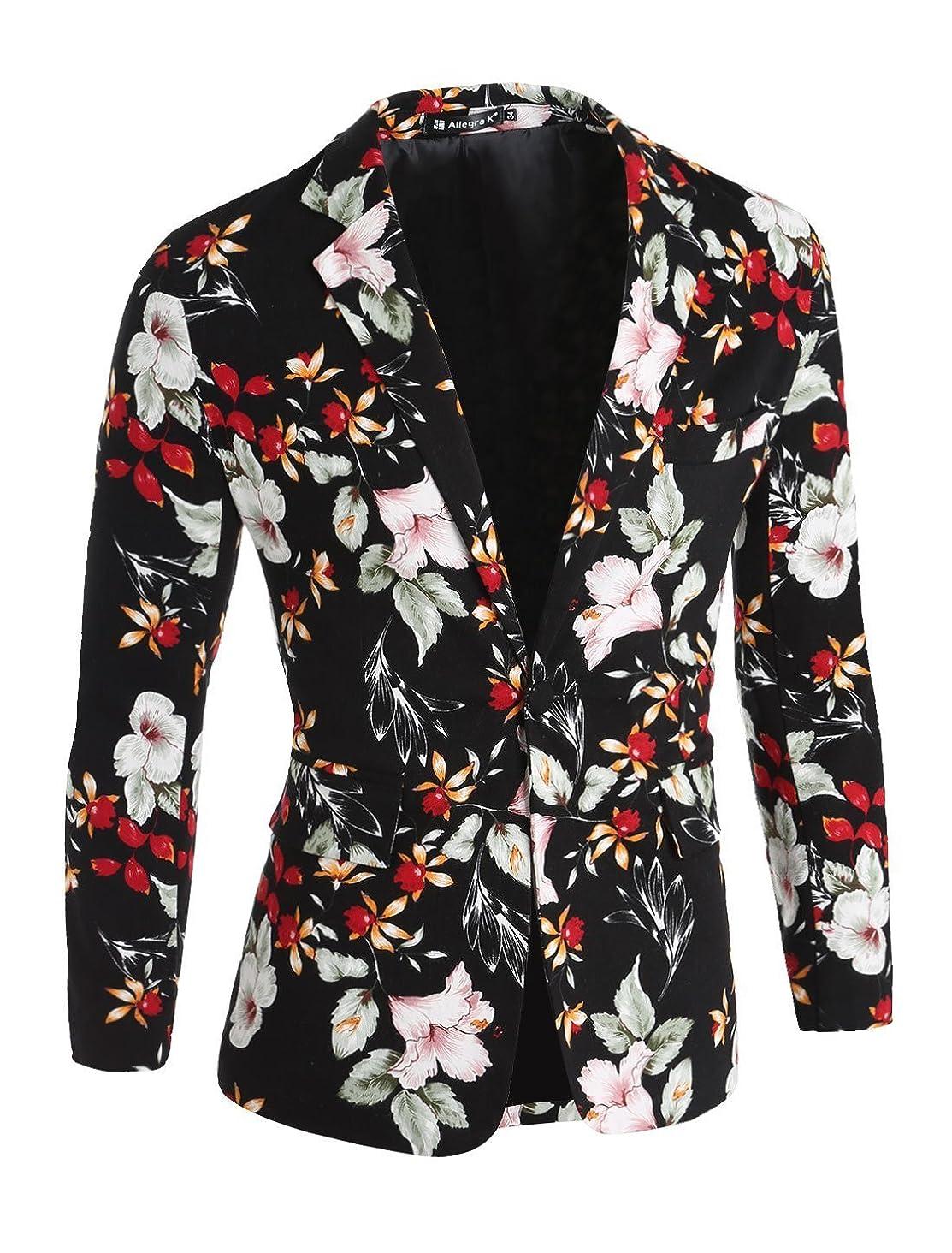 uxcell Men One-Button Notched Lapel Floral Blazer Jacket