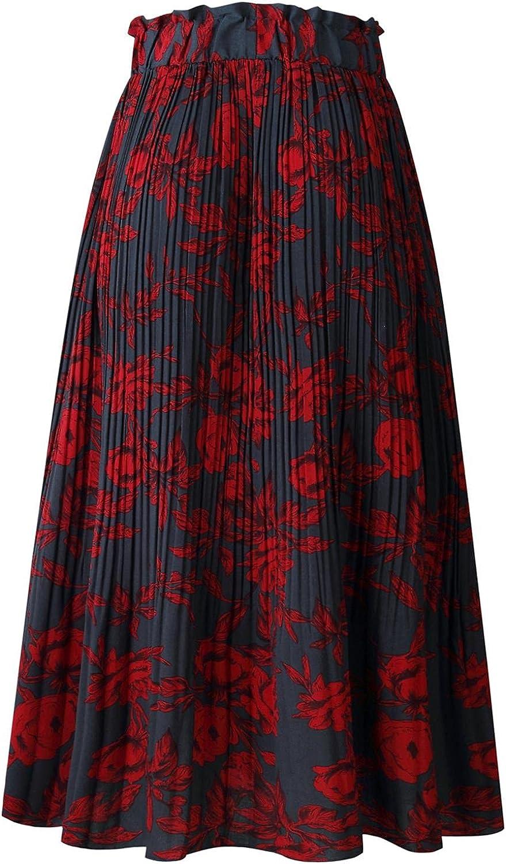 Beautisun Women's Polka Dot Print High Elastic Waist Long Skirt A-line Pleated Midi Skirt with Pockets