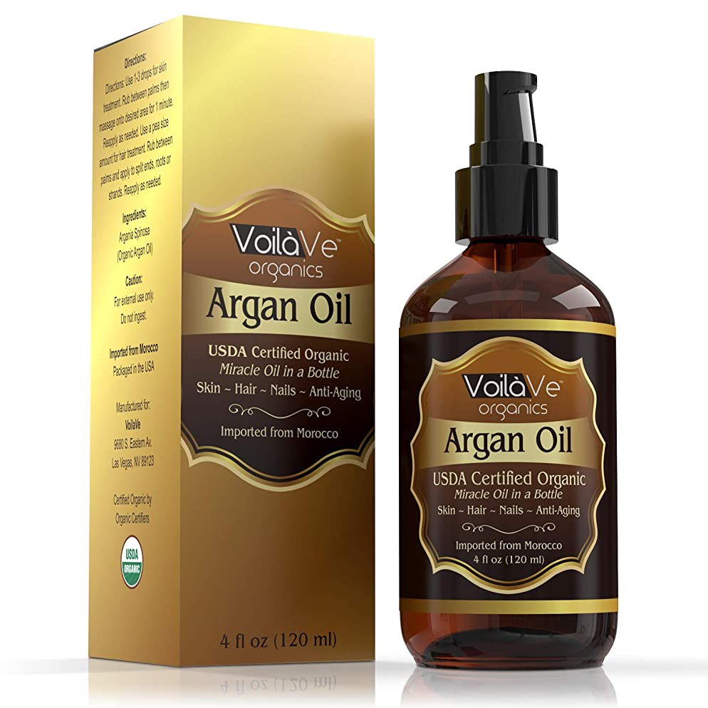 VoilaVe Virgin USDA & ECOCERT Certified Organic Moroccan Argan Oil for Skin, Hair & Nails—Cold-Pressed, Unrefined, 100% Pure, No Fillers or Additives, Natural Moisturizer and Hair Conditioner, 4 fl oz