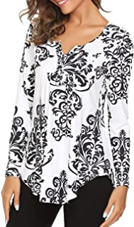 Women Long Sleeve Paisley Floral Button Up Blouse Shirt Casual Henleys Top