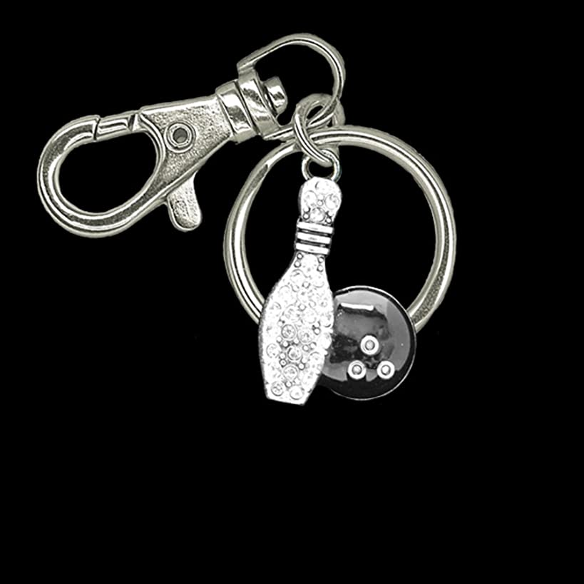 BOWLING BALL & PIN Crystal Rhinestone Embellished Key Chain.Fantastic Gift for the Female Bowler in your Life