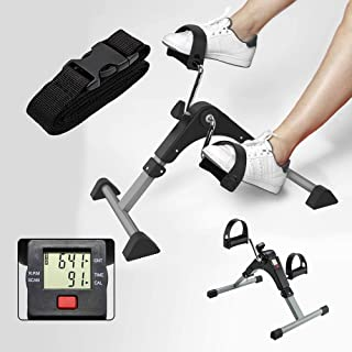 Izoo® Mini Digital Fitness Cycle | Indoor Foot Paddle Exerciser with Adjustable Resistance LCD Display Calorie Counter | P...