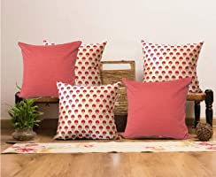 Earthy India Cushion Cover Combo - Set of 5, 16 x 16 (3 Beige Fuchsia Booti & 2 Sunset Red)