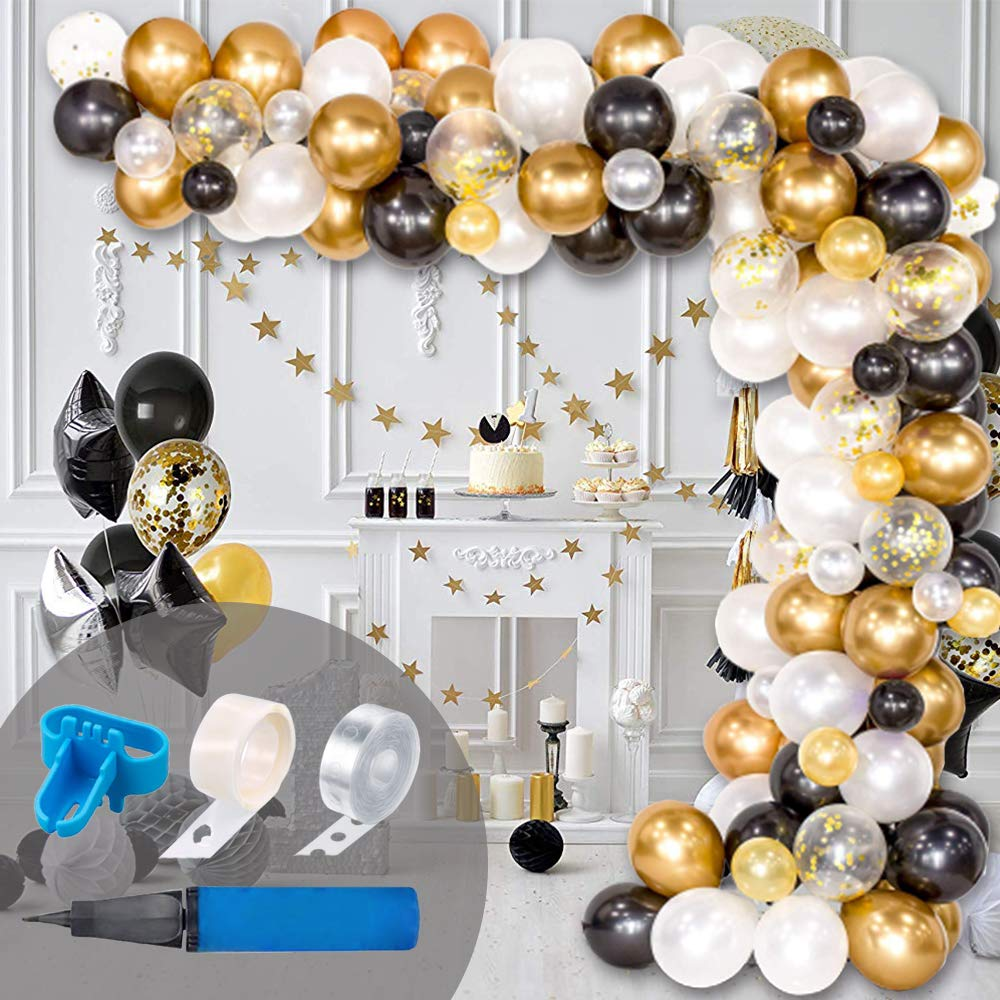 Balloon Arch & Garland Kit, 120Pcs Black, White, Gold Confetti and Metal Latex Balloons with 1pcs Tying Tool, Balloon Strip Tape and Glue Dots for Wedding Birthday Grad Party Graduation Decor