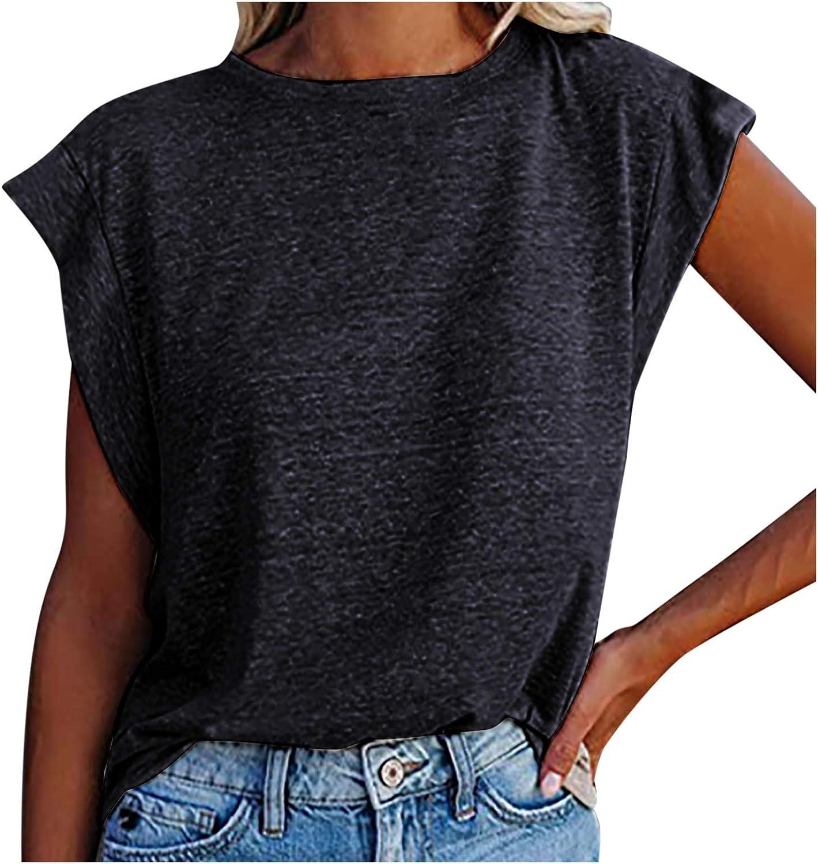 GUGUO Summer Womens Fashion Shoulder Pad Vest Sleeveless Shirt Loose Casual Vest