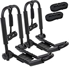 RaxGo Premium Folding Kayak Roof Rack Set – Heavy-Duty J-Bar Carrier Holds Up to 165 Lbs. – Compatible with T-Slider Pre-Installed Roof Rack Bars & Cross Bars – Carries Your Canoe, SUP or Surf Ski