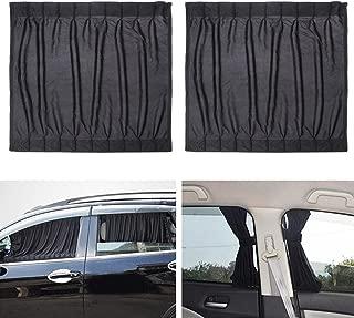 WINOMO 2pcs Side Window Car Sunshades Car Curtains UV Sunshade Drape Window Shield (Black)