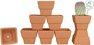 My Urban Crafts 9 Pcs - 3 inch Square Small Terra Cotta Pots Mini Clay Pots Terracotta Flower Pots with Drainage Holes Small Ceramic Pottery Planters Nursery Pots for Cacti Succulent Plants and Favor