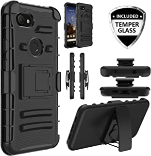 Customerfirst Case Google Pixel 3A XL Rubberized Swivel Belt Clip Holster Heavy Duty Dual Armor Hybrid Defender Rugged Grip Case [with Kickstand & Screen Protector] for Pixel 3A XL