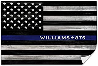 Pretty Perfect Studio Custom Thin Blue Line Police Officer Sign   Personalize Law Enforcement Wall Art   16