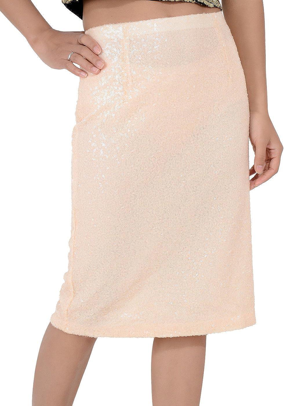 Anna-Kaci Womens Peach Sequin High Waisted Knee Length Pencil Skirt