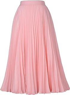 Kate Kasin Women's High Waist Pleated A-Line Swing Skirt...