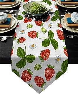 KAROLA Table Runners,Non-Slip Heat Resistant Modern Table Runner for Family Dinner Office Kitchen Tabletop Decor - Strawberry Summer Fruit Print 14