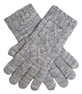 Dents Cable Knit Metallic Gloves Womens Gloves