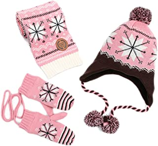 Kisbaby Kid's Knitted Winter Hat Scarf and Mittens Set with Snowflake Pattern All in One