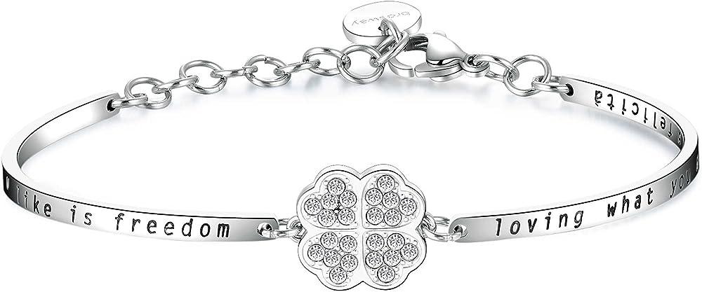 Brosway chakra trendy bracciale per donna rigido  in acciaio e cristalli swarovski Bhk158
