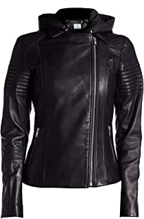 VearFit Badrum Missy Plus Size Real Hooded Leather Jacket for Women Detachable Hood