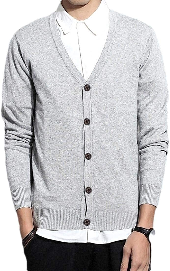 Mens Casual Long Sleeve V-Neck Knit Top Solid Button Down Cardigan Sweaters