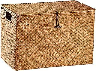 SAP Panier de Rangement 36 * 22 * 23cm Boîte de Rangement en Paille Panier de Rangement tissé Livre Boîte de Rangement f...