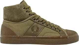 Fred Perry Men's Hughes Mid Winterised Waxed Canvas Burnt Olive 7 D UK D (M)