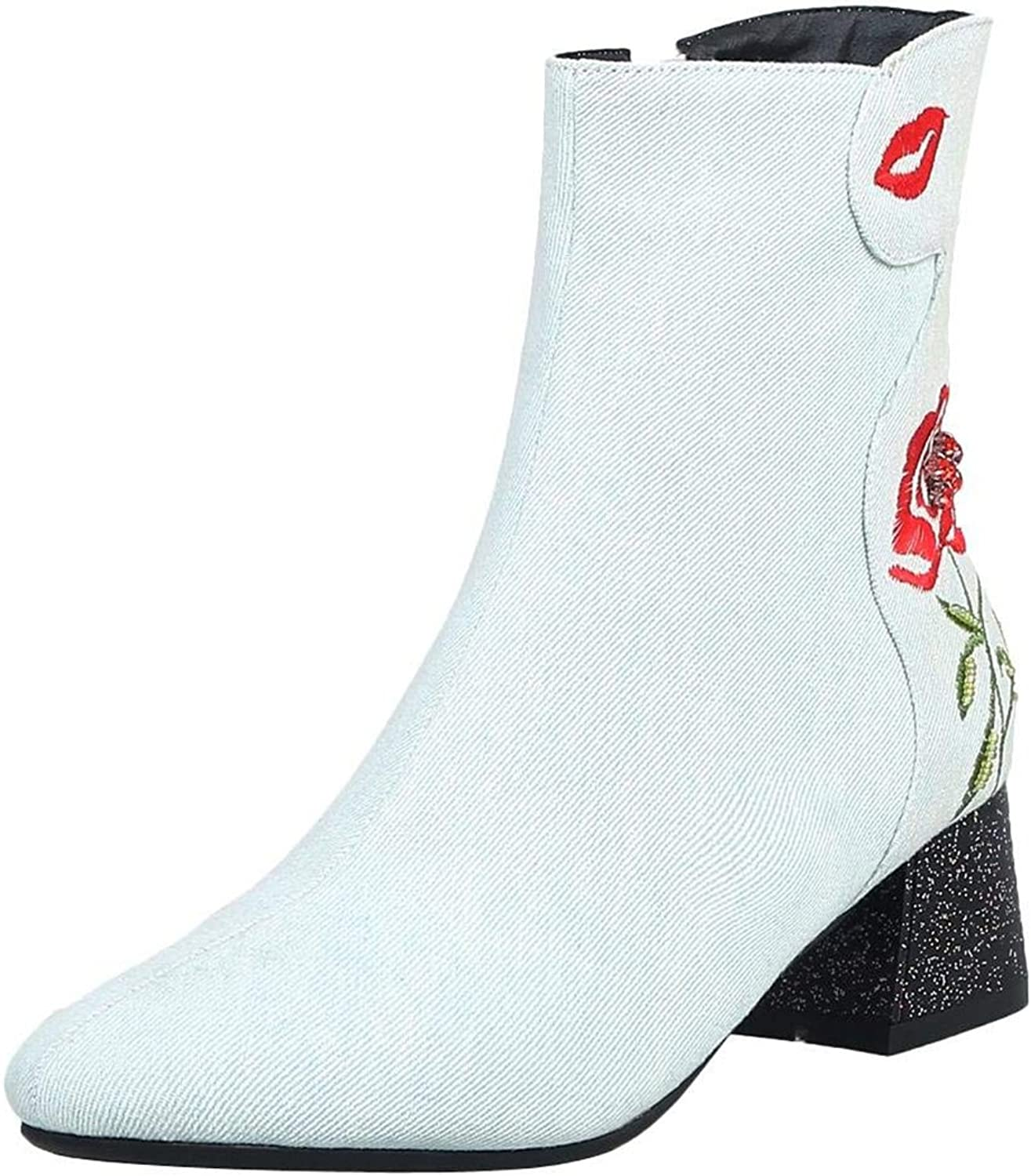 Artfaerie Women's Denim Ankle Boots Block Heel Plush Booties with Embroidery Winter Warm shoes