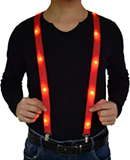 Light Up Y Shape Suspenders Adjustable & Elastic for Dress Up Glow Party Costume