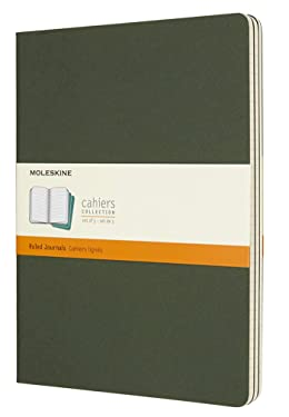 "Moleskine Cahier Journal, Soft Cover, XL (7.5"" x 9.5"") Ruled/Lined, Myrtle Green, 120 Pages (Set of 3)"