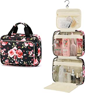 Large Toiletry Bag Travel Bag with Hanging Hook,Water-resistant Makeup Cosmetic Bag Travel Organizer for Accessories,Shampoo,Full Sized Container,Toiletries (Floral)
