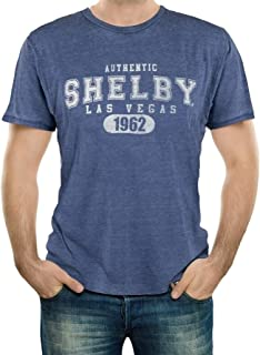 Authentic Shelby 1962 Burnout Navy Tee T-Shirt | Officialy Licensed Shelby Product | 60% Cotton, 40% Polyester