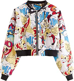 SheIn Women's Fashion Long Sleeve Comic Print Crop Bomber Zipper Jacket