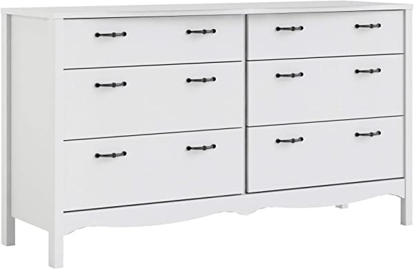 Tvilum 707344949 Biscayne 6 Drawer Double Dresser White