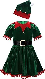 Nimiya Toddler Kids Girls Santa Claus Costume Christmas Party Velvet Tassel Tutu Dress with Hat Belt