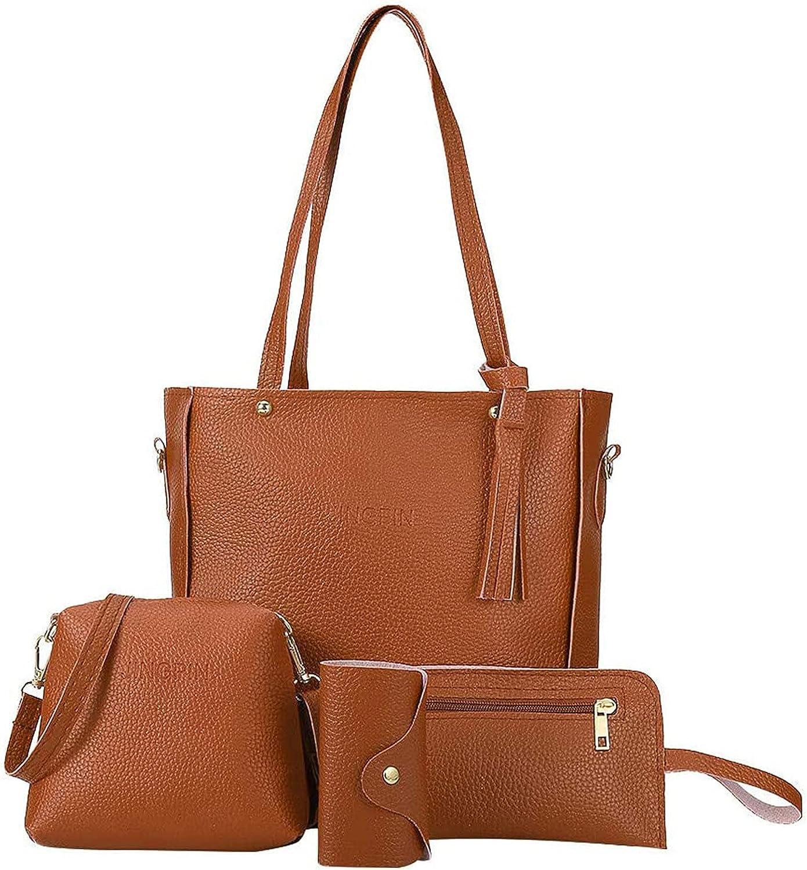 4pcs Tassel Handbags for Women Crossbody Shoulder Messenger Handbags Coin Purse Tote with Zipper and Button Bags