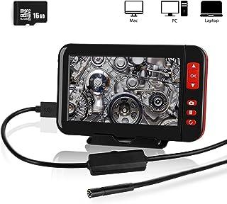 YOMERA Endoscopio Industrial 4.3 Pulgadas 1080P Pantalla LCD HD Cámara de boroscopio de 8 mm IP67 Cámara de inspección Impermeable con 8 Luces LED cámara Flexible semirrígida (16.4ft)