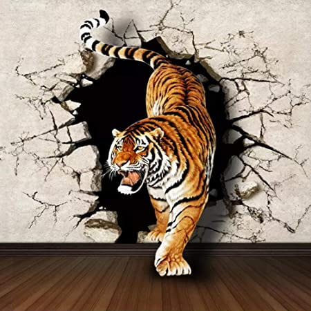 YTJBEI Photo Wallpaper Wall Mural -Tiger Non Woven Wall Mural Adults and Children Teen´s Room Office for Bedrooms 3D Mural Wall Decoration 300 X 210 cm