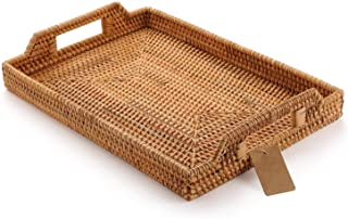 Rattan Serving Tray with Handles for Breakfast Bed Bar Dinner Parties Rectangle 14.5x10.2'