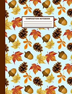 Composition Notebook: Autumn Leaves Pinecone Acorn Pattern Cover Design | College Ruled | 120 Blank Lined Pages | 8.5