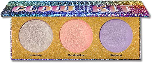 UCANBE 3 Colors Duo-chrome Highlighter Palette Shimmer Holographic Highlighting Pallet Long Lasting Face Eyes Body Illuminating Powder Glow Kit