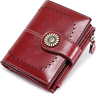 Womens Wallet Small Bifold RFID Blocking Leather Wallet Vintage Zipper Short Card Holder Purse Elegant Clutch